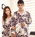Cute Couple  Silk Sleepwear  Men home Sleepwear two piece suit  silk couple  robes  sexy sleeping wear
