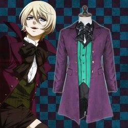 Anime black butler 2 kuroshitsuji alois trancy uniforme roupas cosplay trajes conjunto completo (exterior + colete + camisa + shorts gravata borboleta)