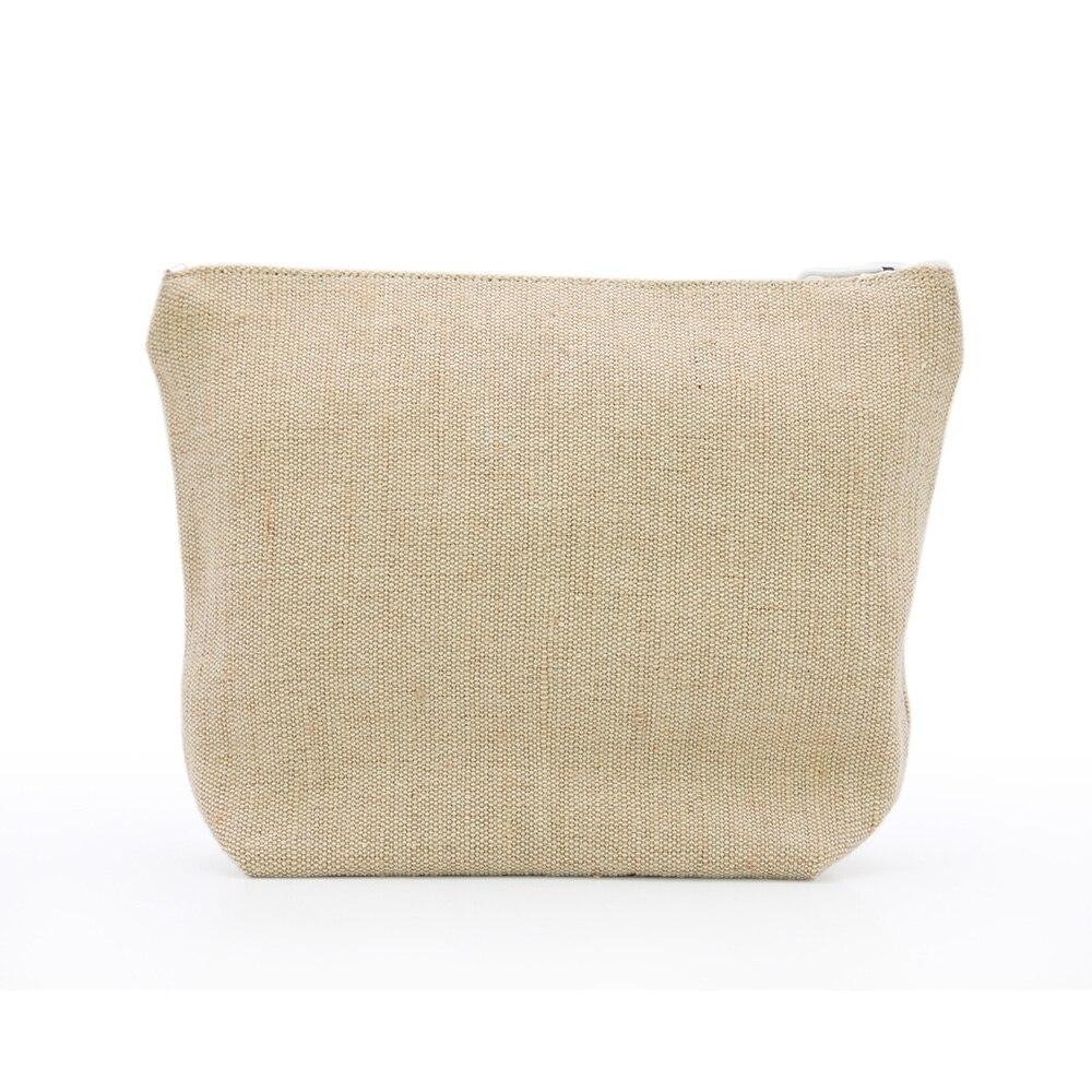 LG0099,Oivefeet Plain White Zipper Nature Jute Cotton Mixed Cosmetic Bag