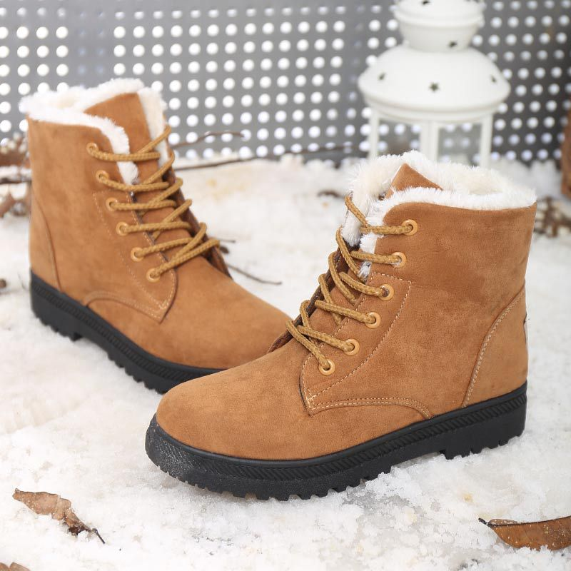 women ankle short martin boots leather suede plush flat heel winter warm casual shoelace snow cotton shoes B076VH67F6