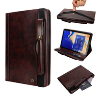 Shockproof Double Row Card Solts Flip Case For Galaxy Tab S4 T830 Kickstand With Pen Holder Leather Smart Cover for Tab S4 T830