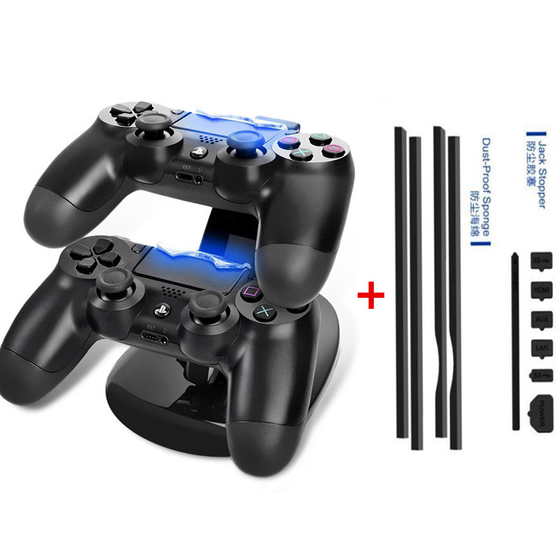 PS4 Pro DIY Dust Proof Stopper Pack Dustproof Kit+LED Dual USB Charging Dock Station Stand Charger For Playstation 4 Pro P4P