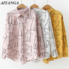 2019 Cotton Shirts For Women Cartoon Print Blouses long Sleeve White Shirt Womens Tops Blusas Feminine Blouse Spring Summer TopBlouses & Shirts