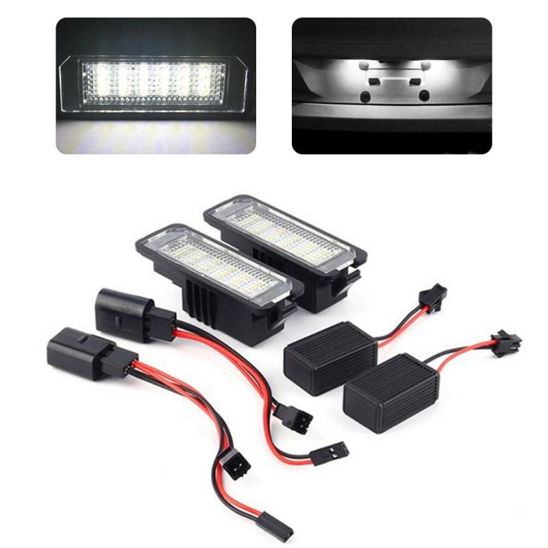 2Pcs 12V LED Number License Plate Light Lamps for VW GOLF 4 5 6 7 Polo 6R Car Exterior Accessories License Plate Lights Quality car for porsche smd3528 number led license plate lights for vw golf gti 5 6 passat scirocco phaeton new beetle cc c 5