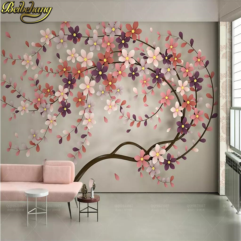 beibehang a tree flower Murals Wallpaper 3D TV Background Large Wall Painting wallpapers for Living Room Mural floral wall Paper drawer