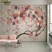 beibehang a tree flower Murals Wallpaper 3D TV Background Large Wall Painting wallpapers for Living Room Mural floral wall Paper(China)