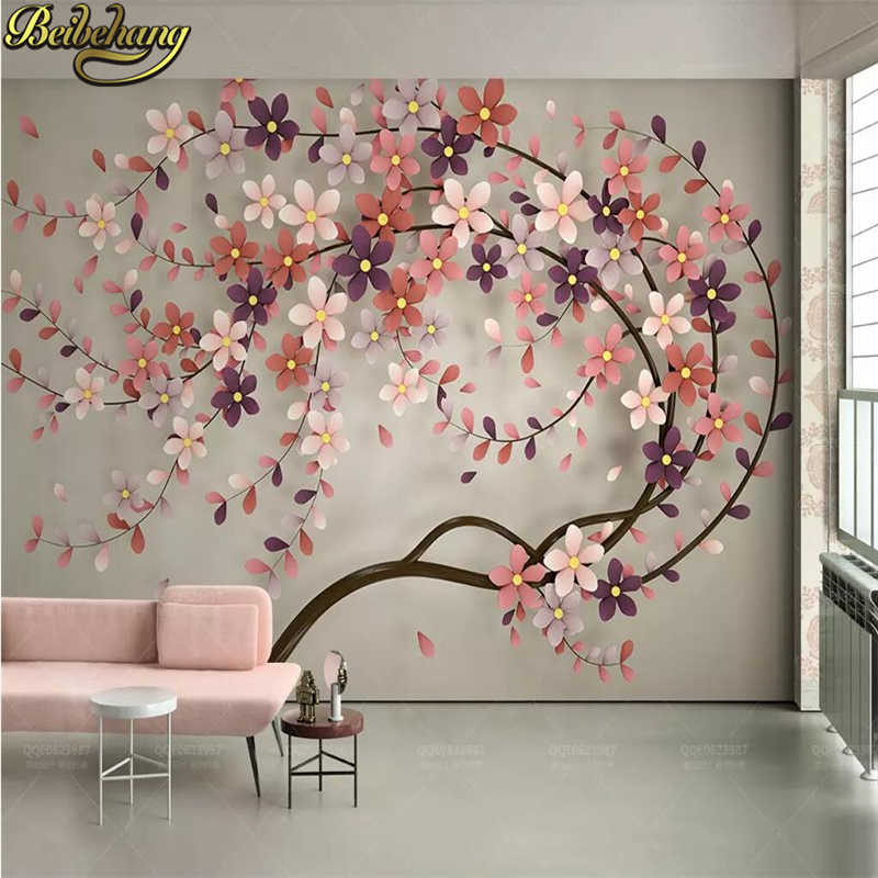 beibehang a tree flower Murals Wallpaper 3D TV Background Large Wall Painting wallpapers for Living Room.jpg q50