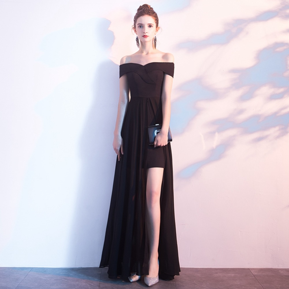 prom dresses long sexy black a line prom dress boat neck bare back chiffon prom dress