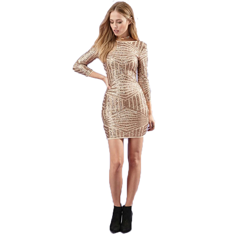 Buy Cheap Sexy Women Luxury Glitter Dress Fashion Gold Sequin Design Summer Long Sleeve Bodycon Backless party dresses