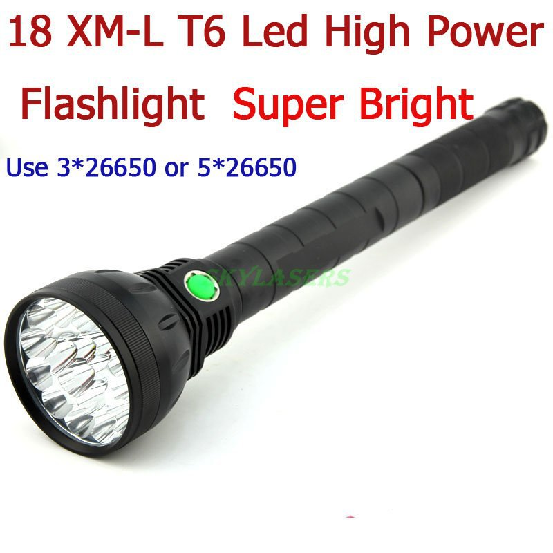 Free Shipping 18T6 Super Bright 22000 Lumen 18 x CREE XM-L T6 LED Flashlight Strong Torch Flash Light With Lanyard For Outdoors