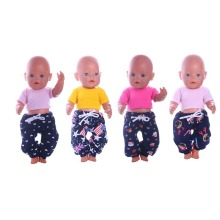 Luckdoll Doll-kleding Wide Leg Pants + Candy T-shirt Geschikte pasvorm 43cm Baby Born zapf Doll, Best Doll Accessories