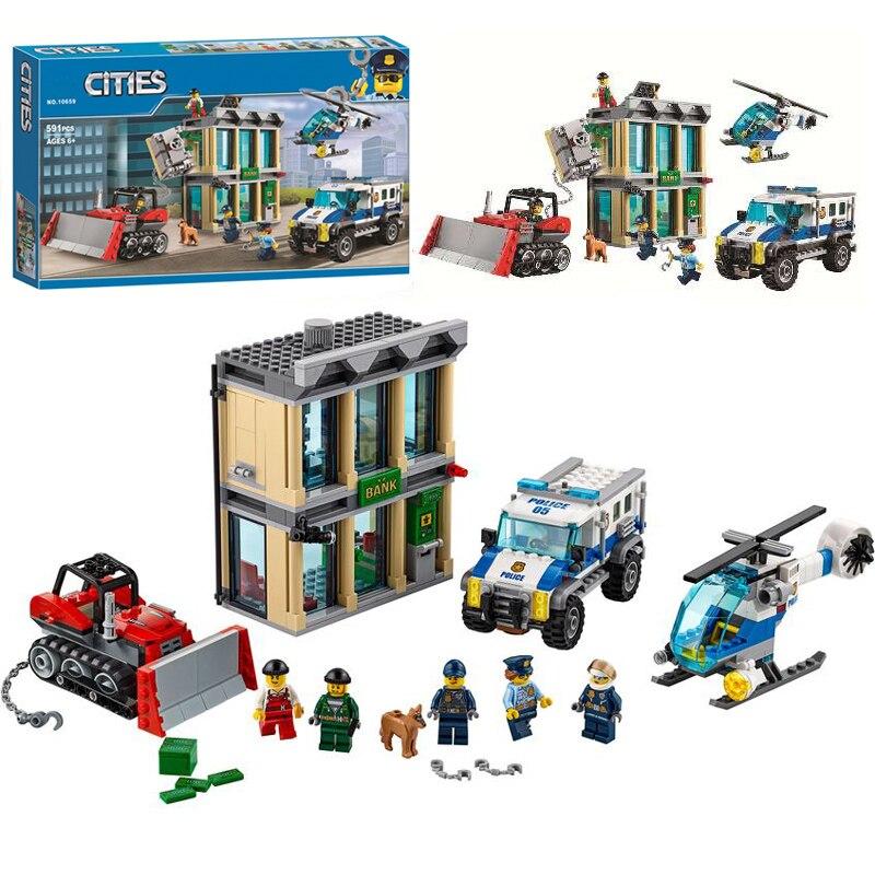 BELA 10659 City Police Bulldozer Break in Bank Building Blocks Set Toys Compatible City Buildings 60140
