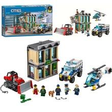 BELA 10659 City Police Bulldozer Break-in Bank Building Blocks Set Toys Compatible City Buildings 60140 For Children стоимость