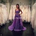 Ланге в полной мере 2016 возлюбленной фиолетовый русалка вечернее платье длинный поезд вечернее платье женщин свадебные Cerimonia Lunghi