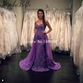 Lange Avondjurk 2016 Sweetheart Purple Lace Mermaid Evening Dress Long Train Formal Dress Women Abiti Da Cerimonia Lunghi