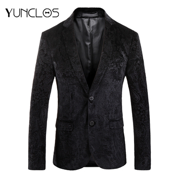 YUNCLOS Autumn Blazer for Men Slim Fit Male Wedding Party Suit Jackets Casual Jacquard Mens blazer masculino