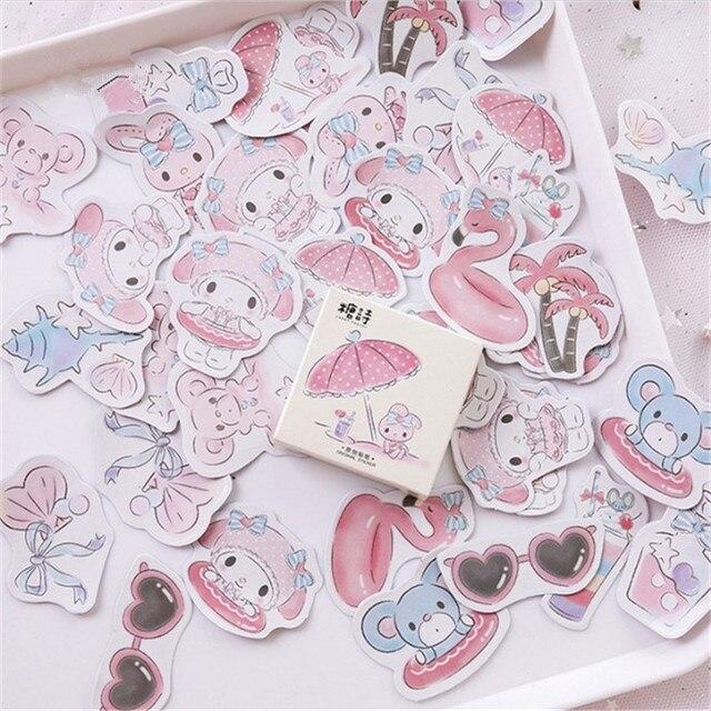 Melody Seaside vacaciones bala diario decorativo Washi pegatinas Scrapbooking Stick etiqueta diario papelería álbum pegatinas