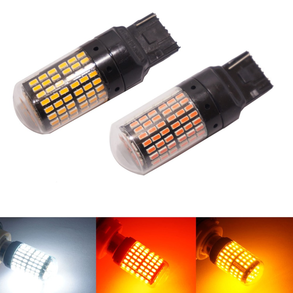 CanBus S25 1156 BA15S <font><b>p21w</b></font> T20 <font><b>LED</b></font> 7440 W21W W21/5W <font><b>led</b></font> Bulbs 144 SMD car Turn Signal Lights Brake lamp White red <font><b>amber</b></font> image