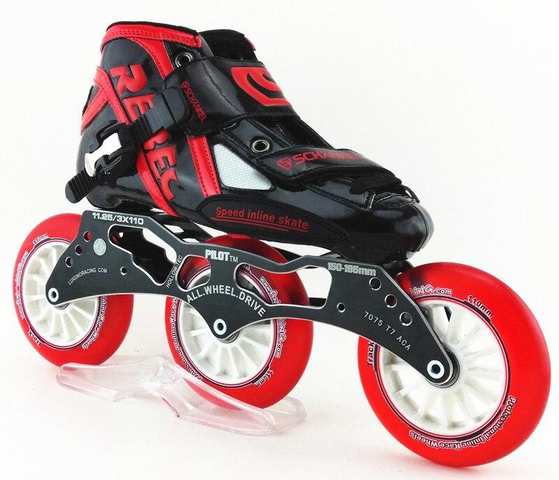 Prix pour Rouge couleur 3 roues de patinage de vitesse chaussures schankel rebec Professionnel enfant adulte inline patins à roulettes de skate de vitesse cristal 3 roues