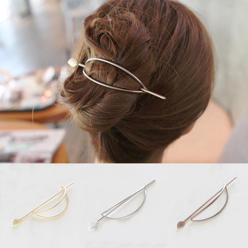 Moda Kadın Kızlar Kore Stil Basit Oval hollow yaprak firkete Updo moda Metal Saç klip Saç Sopa
