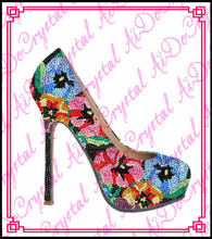 Aidocrysta fashion flower pattern crystal high heel italian shoes with matching bags