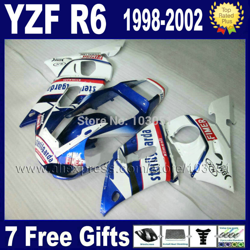 Custom motorcycle fairings kit for YAMAHA YZF R6 1998 1999 2001 2002 white blue  YZFR6 02 01 00 99 98 YZF600 body Fairing kits