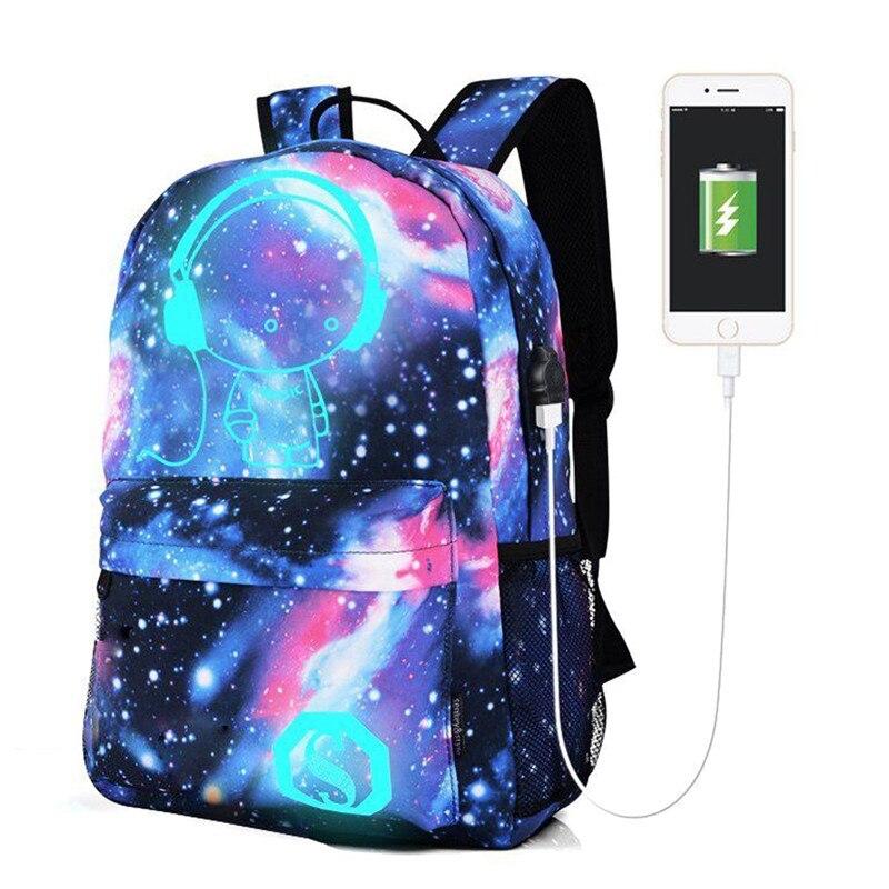 15Inch USB Charging Men Backpacks Teenagers Men Women Student School Laptop Bags Unisex Leisure Travel Luminous Mochila Bag