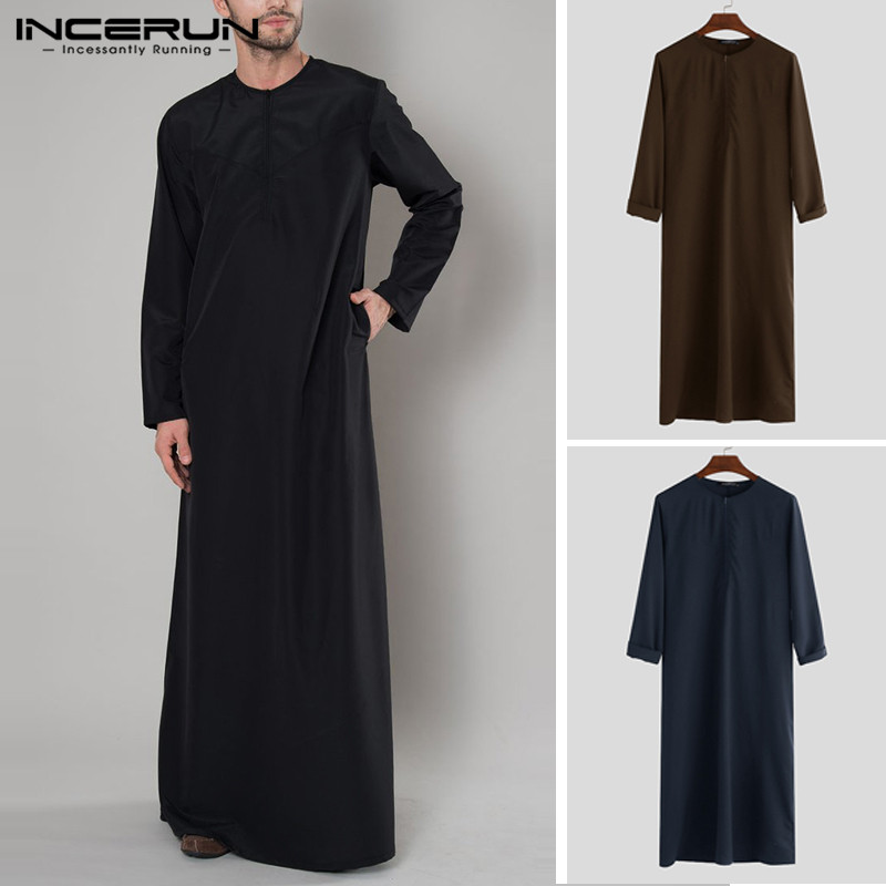 INCERUN Islamic Arabic Muslim Kaftan Men Long Sleeve Zipper Loose Abaya Robes Saudi Arabia Dubai Jubba Thobe Men Clothes 2019