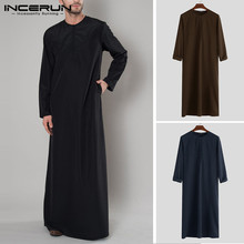INCERUN Islamic Arabic Muslim Kaftan Men Long Sleeve Zipper Loose Abaya Robes Saudi Arabia Dubai Jubba Thobe Clothes 2019