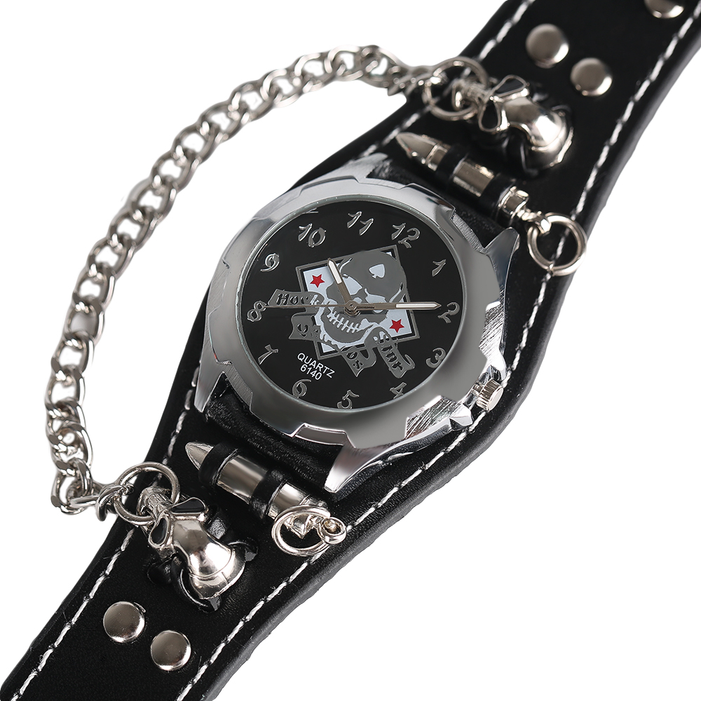 style leather chain pirate young at dial waterproof watch silver rock rebelsmarket faux quartz watches gothic sale shop skull on wrist round punk cool