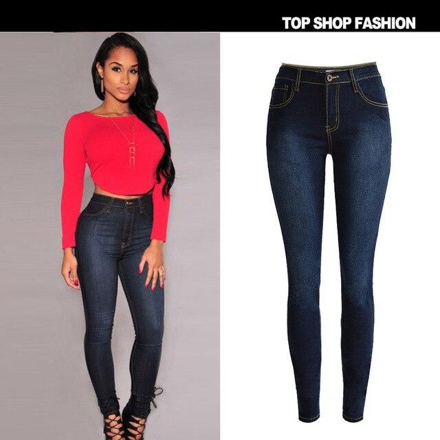 Новые приходят женщины карандаш брюки высокой талией джинсы сексуальные тонкие эластичные узкие брюки брюки Fit леди Большой размер