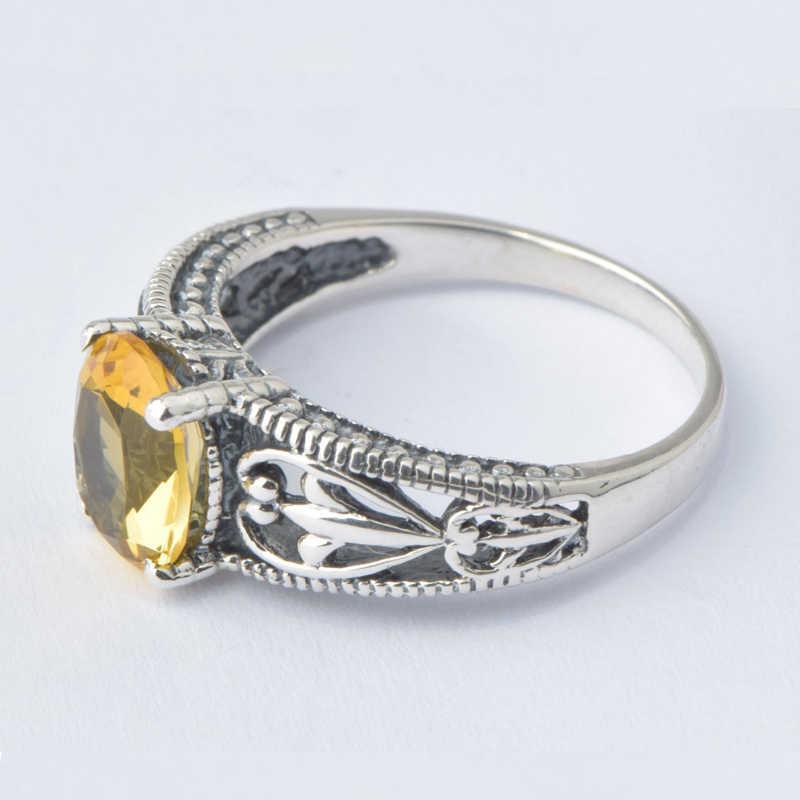 Szjinao โปรโมชั่นขายส่งแฟชั่น 100% แหวนเงิน 925 สไตล์วินเทจ Handmade ผู้หญิงสีเหลืองคริสตัลเครื่องประดับ
