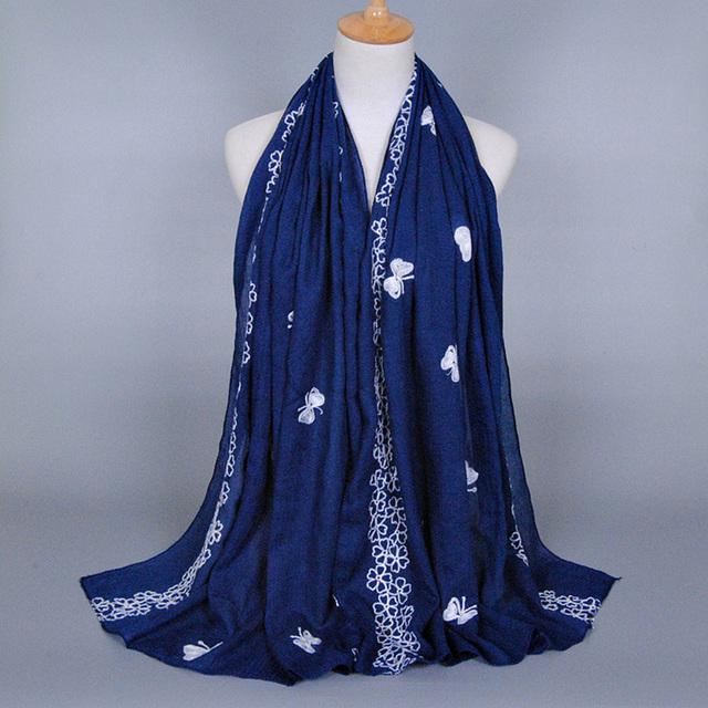 2016 borda bufanda para mujer Printe mariposas flor diseño largo chales de algodón cabeza Multicolor Hijab musulmán bufandas / bufanda mujer