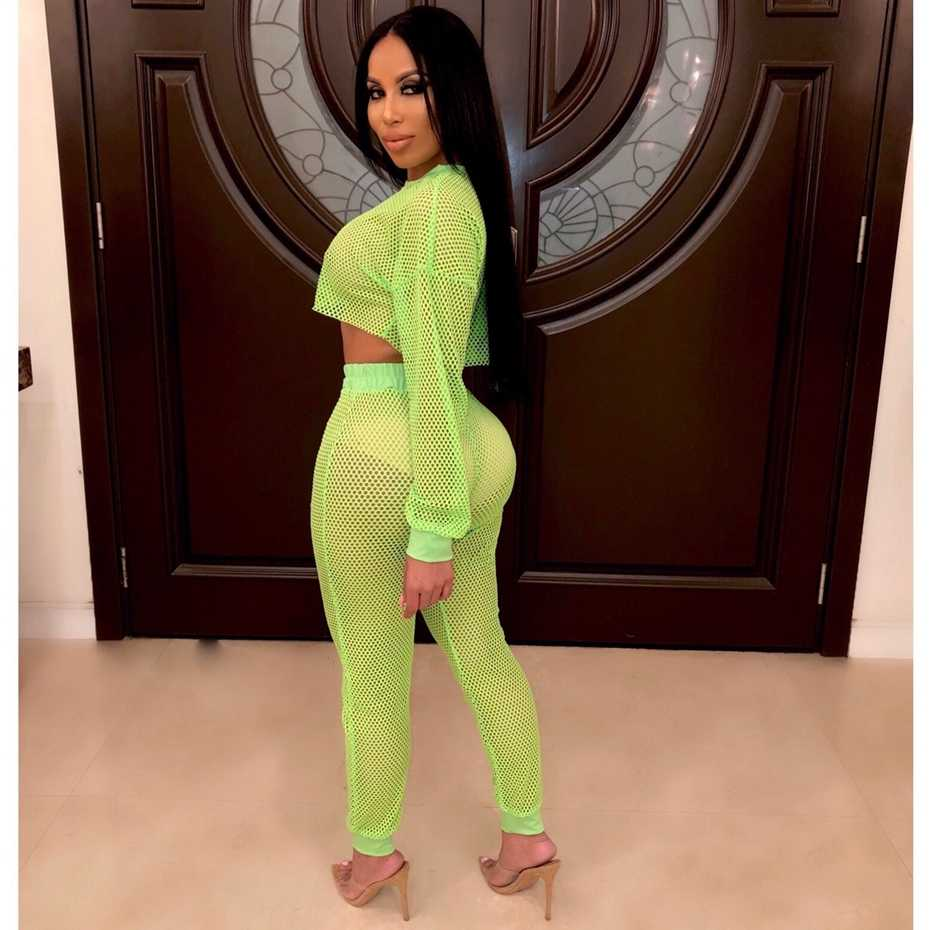 47883011d3 ... HAOYUAN Neon Green Fishnet Mesh Two Peice Set Women summer Crop Top and  Pants with Panties ...