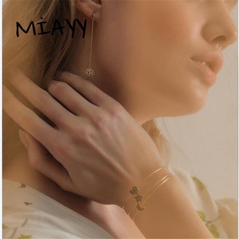 Trendy Crystal Bangles 3PCS Set Charm Bracelets Bangles For Women Star Moon And Heart Love Bangle Boho Indian Jewelry Pulseras