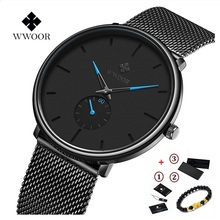 WWOOR Ultra-thin Mesh Fashion Sport Men Watches Top Brand Luxury Quartz Watch Mens Casual Steel Waterproof Relogio Masculino fotina casual brand bosck quartz men watch ultra thin waterproof unisex stainless steel women dress ultra thin watches for men