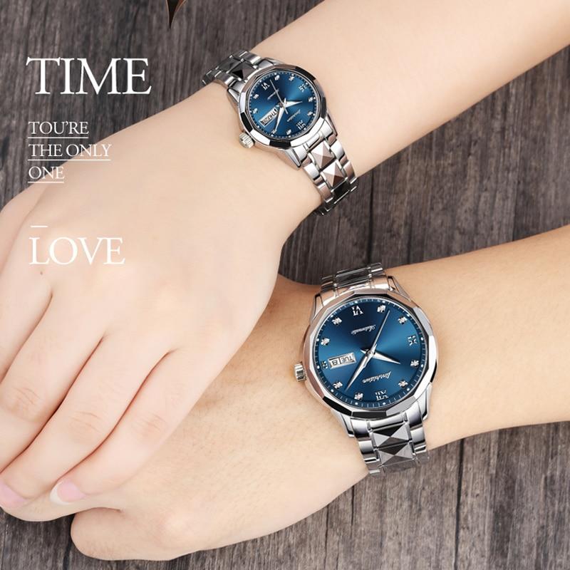 Alta Qualidade Casal Relógios JSDUN Luxo amante Resistente À Água de Aço Inoxidável Relógio Mecânico Masculino Relógio Automático em Ouro Rosa