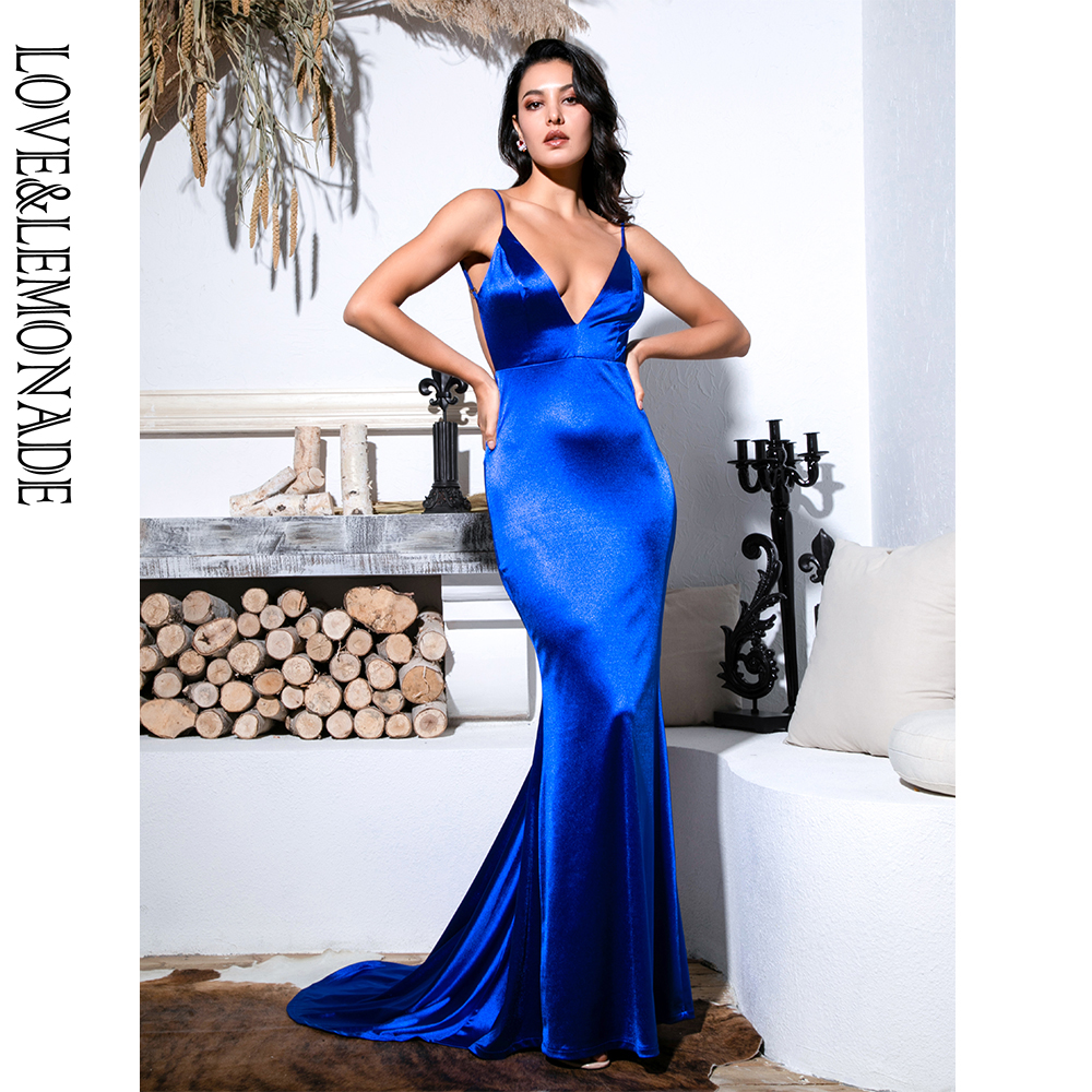Love Lemonade Sexy Blue Deep V Neck Open Back Slim Flash Material Long Dress LM81222 BLUE
