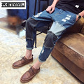 2017 New Arrival Famous Brand Ripped Jeans for Men High Quality Oversized Male Denim Jumpsuit Casual Patchwork Mens Jeans Pants