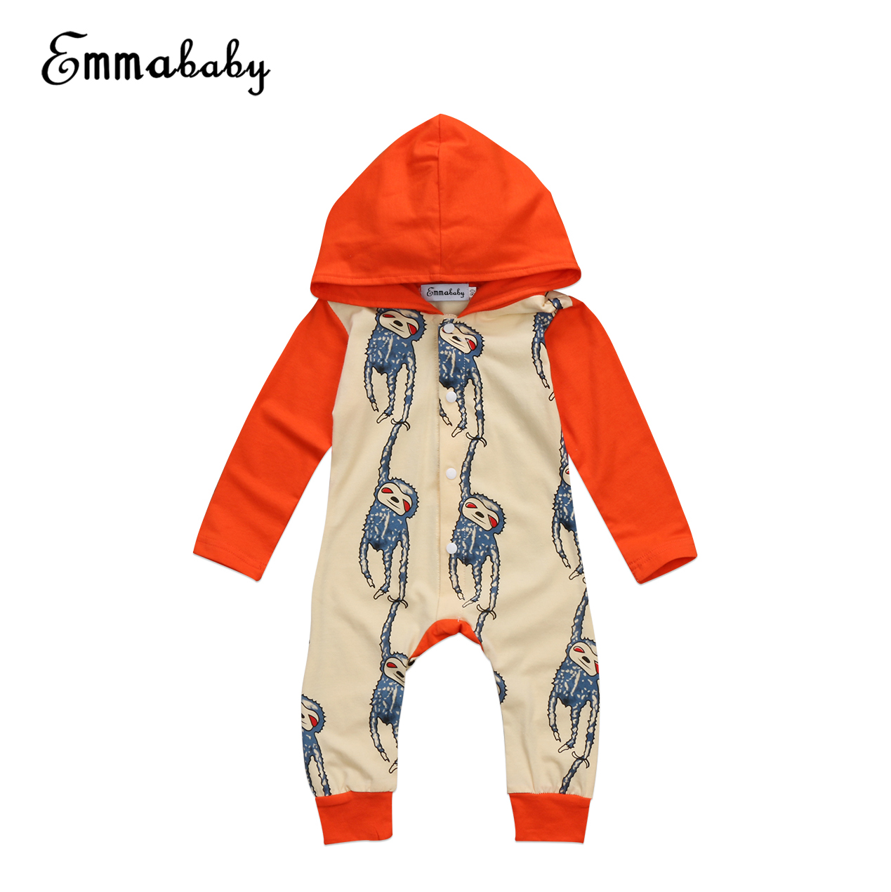 INfant Newborn Baby Boy Girl Hooded Romper Long Sleeve Cute Monkey Print 2017 New Autumn Spring Jumpsuit Clothes Outfits
