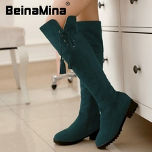 women flat over knee boots bohemia winter warm snow botas fashion feminina boot cotton footwear shoes P19976 size 32-43