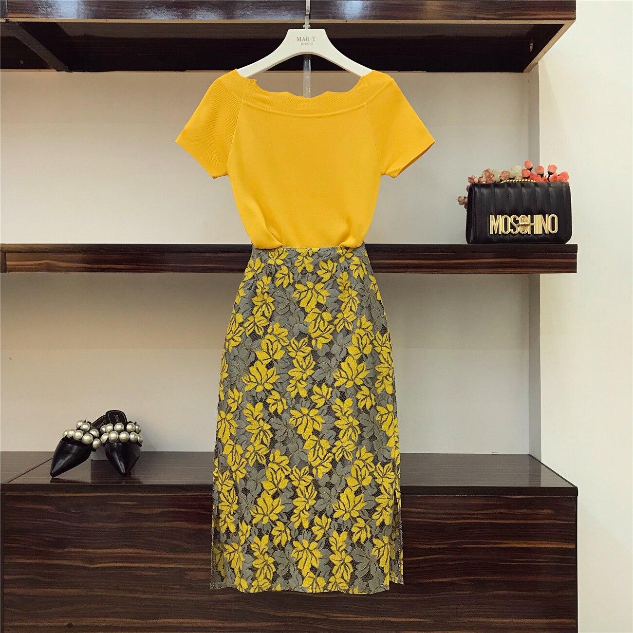 2018 été femmes mode jupes costume vague bord tricot t-shirts + creux fleur Split dentelle jupe dame paquet Hip jupes ensemble