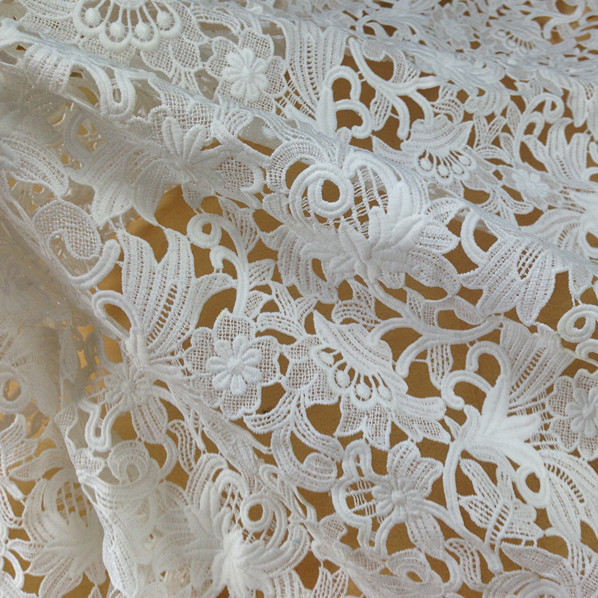 Buy sale 120cm wide white embroidery for Wedding dress fabric stores