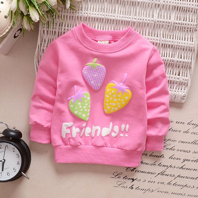 4 Colors Baby Girl Clothes Three Strawberry Cardigan Long Sleeve Coat Sweatshirt For Girls Single Row Button Cotton