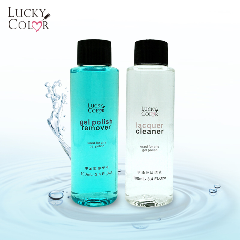 Lucky Color Gel Nail Polish Remover Soak off Liquid 100ml Surface Sticky Residue Remover UV Gel Nail Cleaner Degreaser Cap Clip