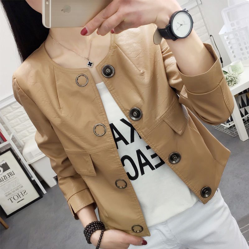 2019 Spring Autumn New Women   Leather   Jackets Long sleeves Pu Faux   Leather   Coats Short Women Jacket Tops Casual Ladies Outerwear