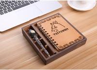 4Y4A 1set Wooden Notepad Zakka Includes Pen Moe Chinchilla Notebook Cartoon Cartoon Korean Thin Diary