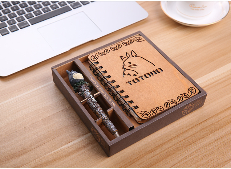 [4Y4A] 1set Wooden notepad zakka Includes pen Moe Chinchilla notebook cartoon cartoon Korean thin diary Korean fine gift set set moe set
