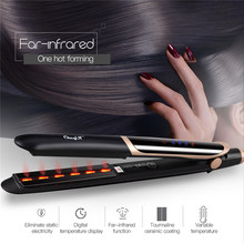 цена на CkeyiN Professional Hair Straightener Curler Hair Flat Iron Negative Ion Infrared Straighting Curling Corrugation LED Display