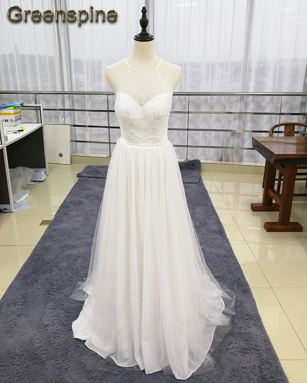 Greenspine Beach Wedding Dress 2019 Halter Beaded Chiffon
